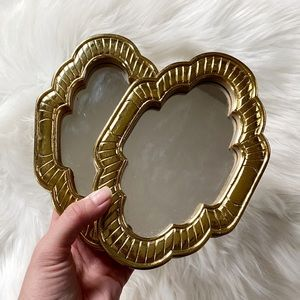 Set of 2 Small Gold Framed Wall Mirrors